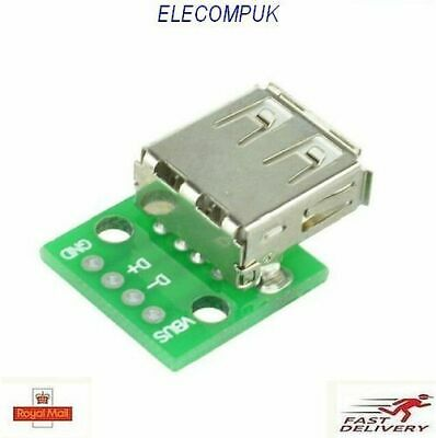Type A DIP Female USB To 2.54MM PCB Breakout Board Adapter Converter.