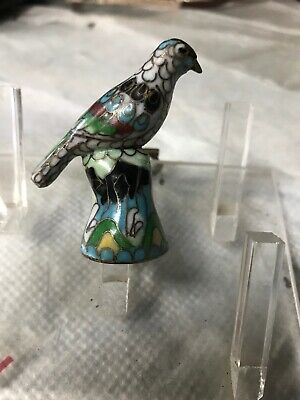 Antique Chinese Enamel Cloisonne Bird Thimble Sewing Very Fine Parrot Oriental !