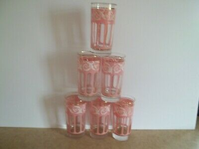 """Rare Vintage set of 6 Libbey Drinking glasses with pink decorations 5 1/2"""" high"""