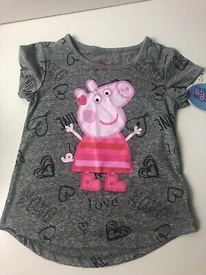 PEPPA PIG Toddler Girls' Short Sleeve Tee - Gray 2T Valentine's BE MINE XOXO