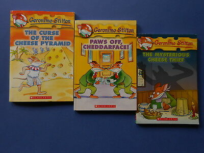 ## GERONIMO STILTON x 3 - MYSTERIOUS CHEESE THIEF, PAWS OFF CHEDDARFACE! +