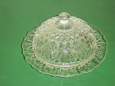 Anchor Hocking EAPC Prescut Pineapple Clear Glass Round Covered Butter Dish