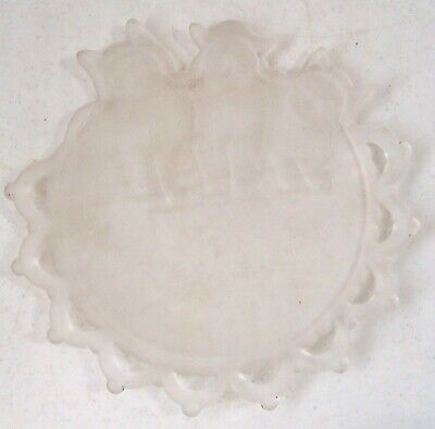 Vintage Frosted Glass Dish Plate Three (3) Cats Kittens & Open Lace Edge