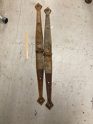 "Massive  Pair Antique Hand Forged Barn Door Gate Strap Hinge Iron 48"" Long 40 Lb"