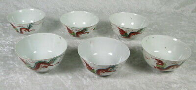 Set 6 Antique Chinese Porcelain Rice Bowls Hand Painted Red Dragon 4-3/4 in Dia