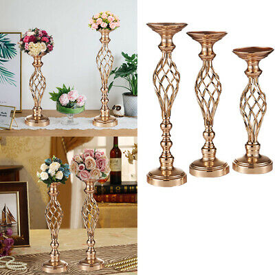 Gold Flowers Vases Candle Holders Road Lead Table Centerpieces Metal Stand S/M/L