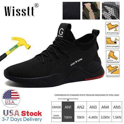 Mens Work Safety Indestructible Shoes Steel Toe Midsole Boots Mesh Sneakers Size