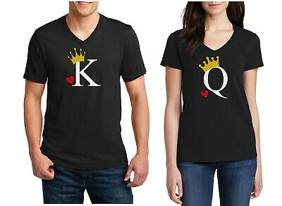 V-neck King and Queen Shirts Matching SET Couples Valentines Day Heart Couple