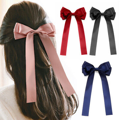 Girl French Barrette Ribbon Bow Hair Clips Bowknot Hairpins Ponytail Holder