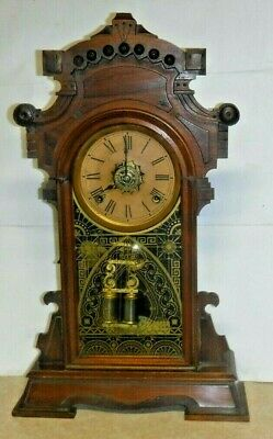 "Rare Antique Ansonia ""Madison"" Shelf Mantel Wood 8 Day Chime Clock Working"