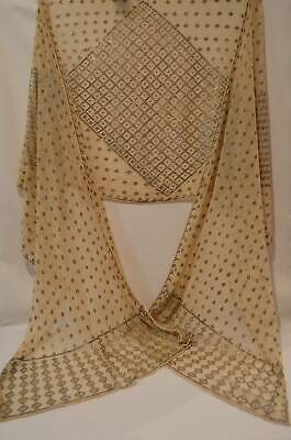 Antique Art Deco Egyptian Assuit Scarf Shawl Silver Metal On Mesh Net Fabric