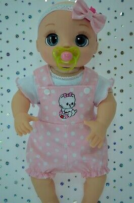 """Dolls Clothes For 17"""" Baby Alive Real As Can Be PINK DUNGAREE~TOP~HEADBAND"""