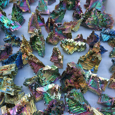 10Pcs 50g Natural Rainbow Aura Titanium Bismuth Quartz Crystal Gemstone Healing
