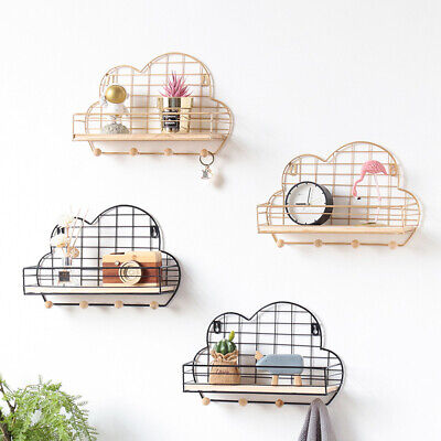 Wall Mounted Shelf Wire Rack Storage Cloud Shaped With Hooks Basket Key Hanger H