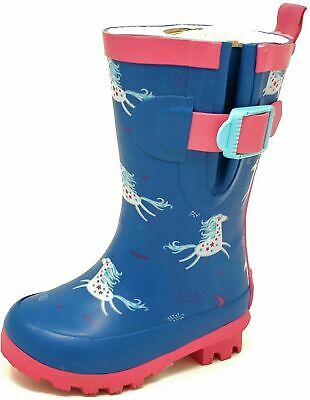 Childrens Kids Girls Blue Pink Unicorn Wellies Wellington Rain Snow Boots