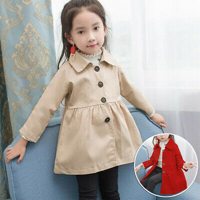 Kids Toddlers Girls Winter Autumn Trench Coat Button Down Lapel Collar Overcoat