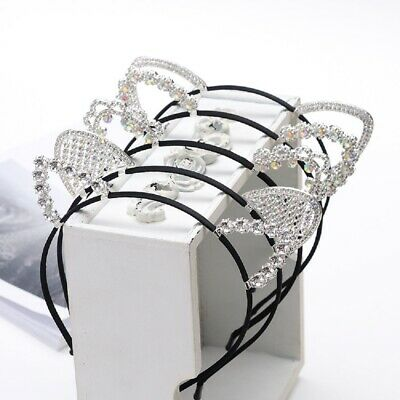 Fashion Cute Kids Cat Ear Headband Pearl Crystal Girls Rhinestone Women Hairband
