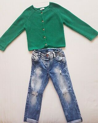 Girls Next Cardigan And Jeans Outfit 2-3 Years