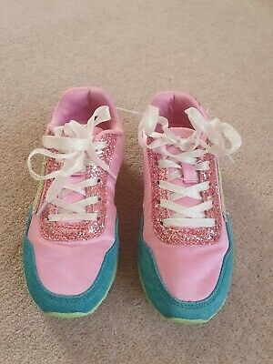 M&S Girls Pink Sparkly Trainers UK 13