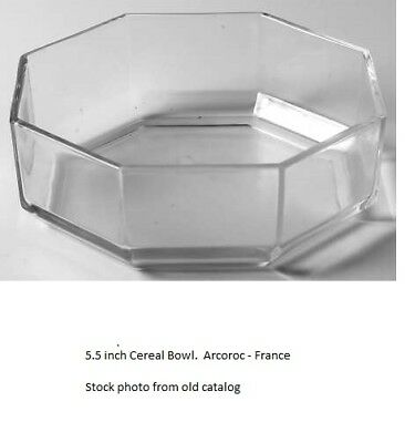 Arcoroc Cereal Bowl (2) Octime Clear Glass 5.5 inch Octagon France Retired