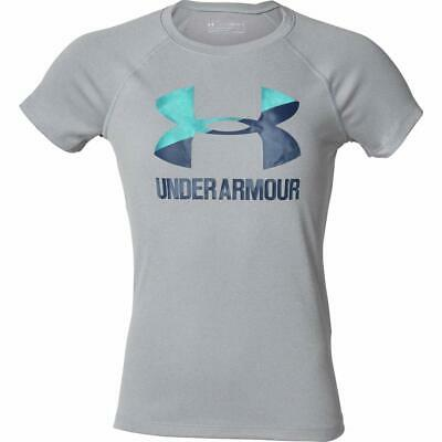 Under Armour Girls Youth Big Logo Tee Short Sleeve T-Shirt Grey / Blue XSmall