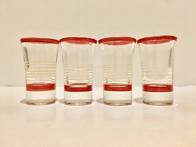 4 Vintage Mid Century Mod Cocktail Aperitif Shot Glasses Red White Stripes 2oz