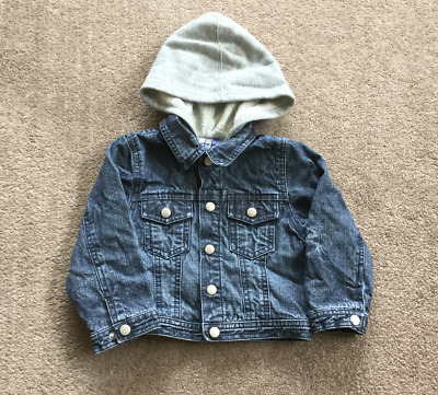 JASPER CONRAN Junior Denim Jacket Coat + Hood 12-18 Months 86cms Boy Girl Child