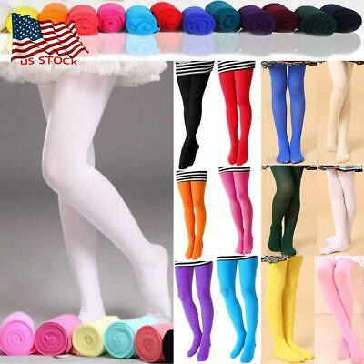 Kids Girls Soft Tights Stockings Pantyhose Ballet Dance Party Socks Age 4-12 USA