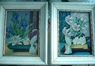 2 Asian Themed Goes Framed Litho Prints, Cranes, Flowers