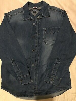 TOMMY HILFIGER, boys blue denim shirt S Age: 8-10 Worn Once
