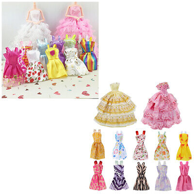 12Pcs Gown Dress Clothes Set For Barbie Dolls Wedding Party Prom Causal Decor*