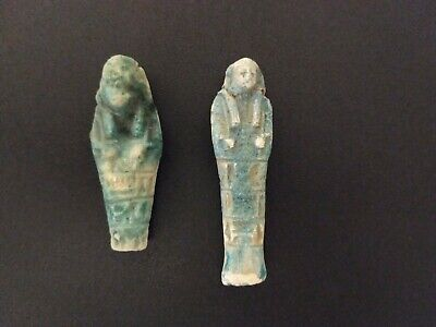 Pair of Ancient Egyptian blue faience shabti - 19th/20th Century forgeries