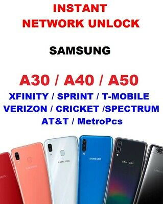 Instant Network Unlock A30, A40, A50 Sprint, T-Mobile, Verizon, MetroPcs, AT&T