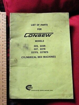 Consew list of parts for Cylindrical Bed Machines #2