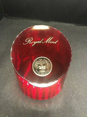 Royal Mint Paperweight 1985 UK Welsh Leek £1 One Pound - Red