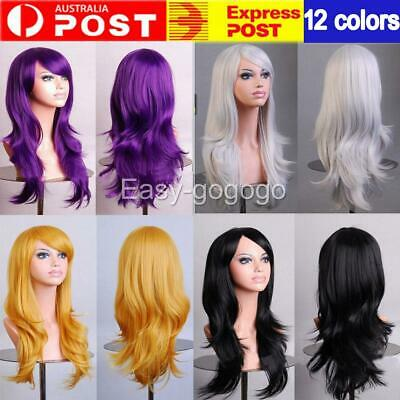 Womens 70cm Long Wavy Curly Hair Synthetic Cosplay Full Wig Wigs Party AU J