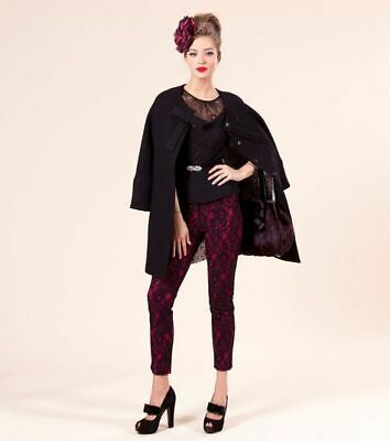 ALANNAH HILL SHE BAKES POISON CAKES PANTS BERRY Black SIZE 12 RRP$249 Lace