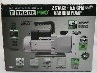 TradePro TP-5VP2 5.5 CFM Two-Stage Vacuum Pump 1/2HP 110/220V 15 Micron NEW