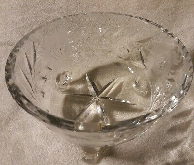 Heavy Clear 3 Footed Crystal Glass Bowl/ Candy Dish