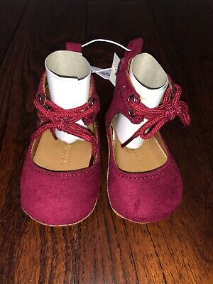 NWT Old Navy Baby Girl Crib Shoes 0-3M Burgundy Red