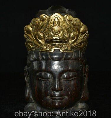 """6"""" Marked Old China Ox Horn Gilt Carved Guanyin Bodhisattva Goddess Head Statue"""