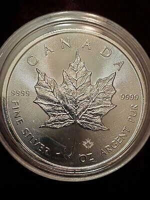 Silver Maple Leaf Coin .9999 Fine.dollar round  1 oz. Canada $5 uncirculated.