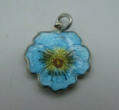 Vintage Sterling Silver Guilloche Enamel Pansy Flower Charm