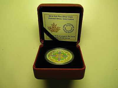 2014 Proof $20 Stained Glass #2-Casa Loma Canada .9999 silver twenty dollars
