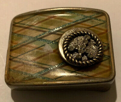 60's Hippie Style Ladies Enamel Belt Buckle W/ Peace Sign W/crystals Plaid Style