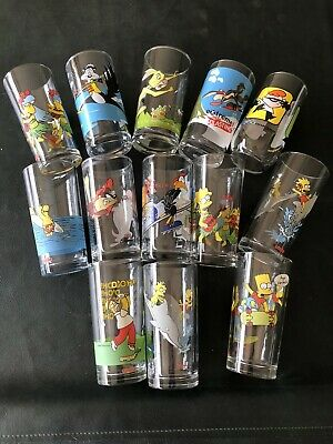 13 Drinking Glasses With Various Characters Incl Simpsons In Ex Condition