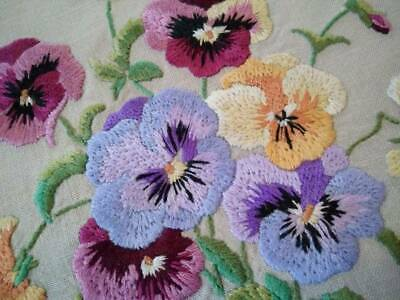Charming Pansy/Pansies  Vintage Hand Embroidered Finished Crewel picture/Panel