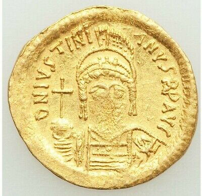 527-565 Ad Byzantine Justinian I The Great Gold Av Solidus (21Mm, 4.36 Gram, 7H)