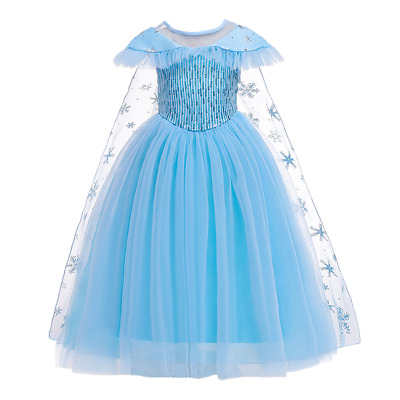 Frozen Princess Elsa Sequins Dress Up for Girls Snow Queen Cosplay Party Costume