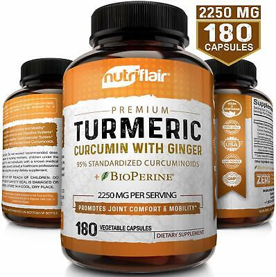 Turmeric Curcumin Root with Ginger and BioPerine Joint Pain 1300 mg 180 Capsules